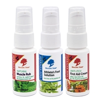 Travel Pack Athlete Essentials with 1 oz. Natural Muscle Rub, Athlete's Foot Solution, and Anti-Itch First Aid Cream.