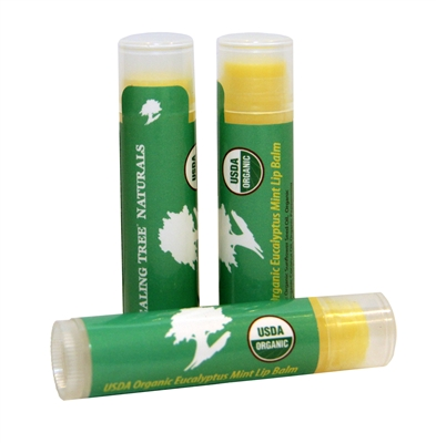 Moisturizing organic lip balm with mint and eucalyptus