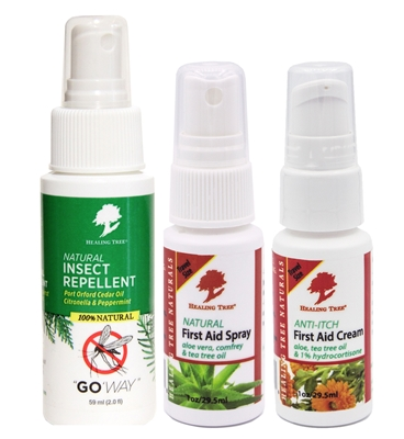 Outdoor Essentials Travel Pack with 1 oz versions of our Natural First Aid Spray, Anti-Itch First Aid Cream, and our 2 oz Go 'Way! Natural Insect Repellent.